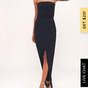 Lulu's Navy Strapless Maxi Dress